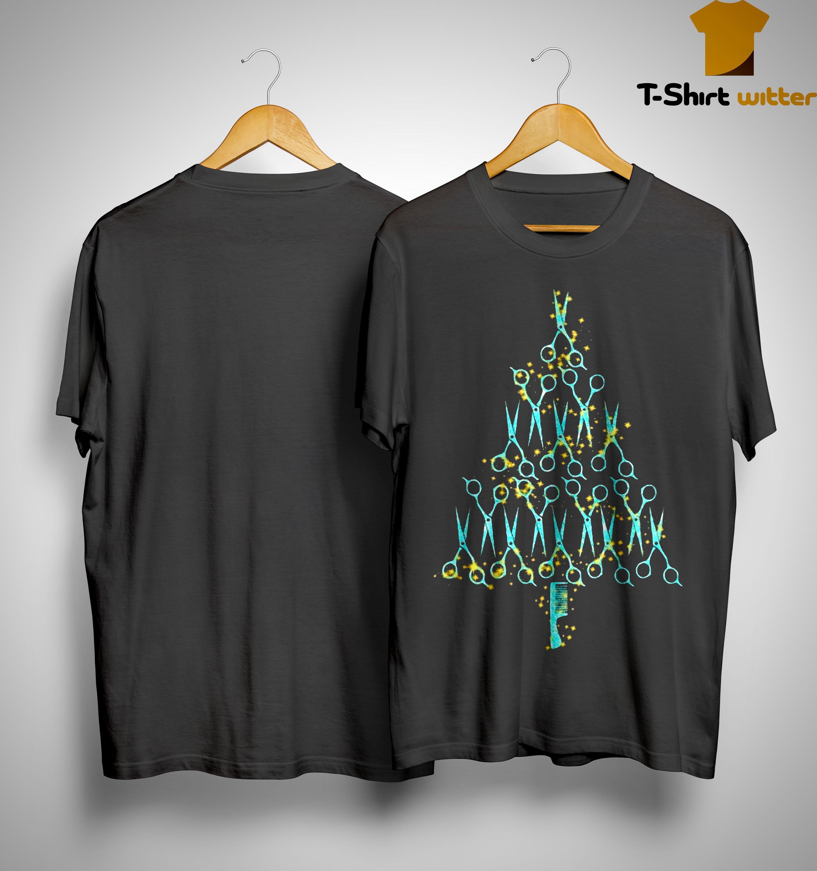 Hair Stylist Tools Scissor Combo Christmas Tree Shirt