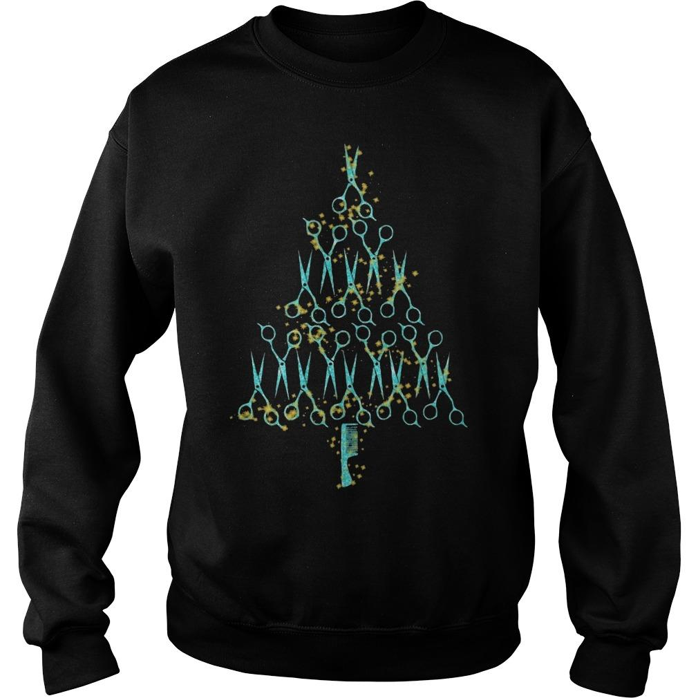 Hair Stylist Tools Scissor Combo Christmas Tree Sweater