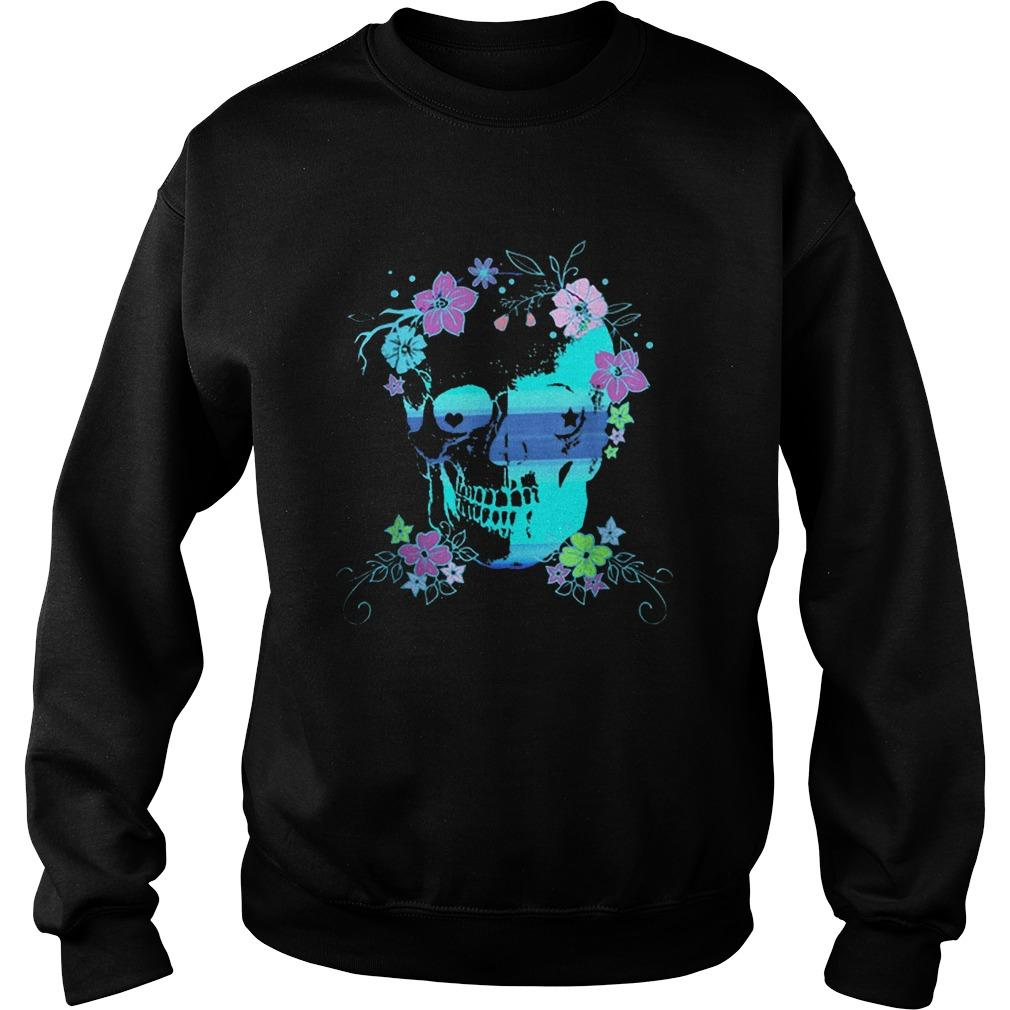 Skull And Flowers Halloween Rave Concert Sweater