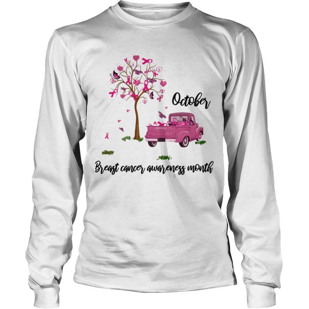 Truck October Breast Cancer Awareness Month Longsleeve