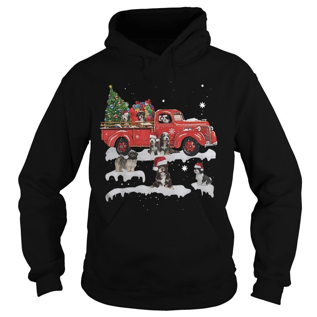 Tibetan Terrier Riding Red Truck Merry Christmas Hoodie