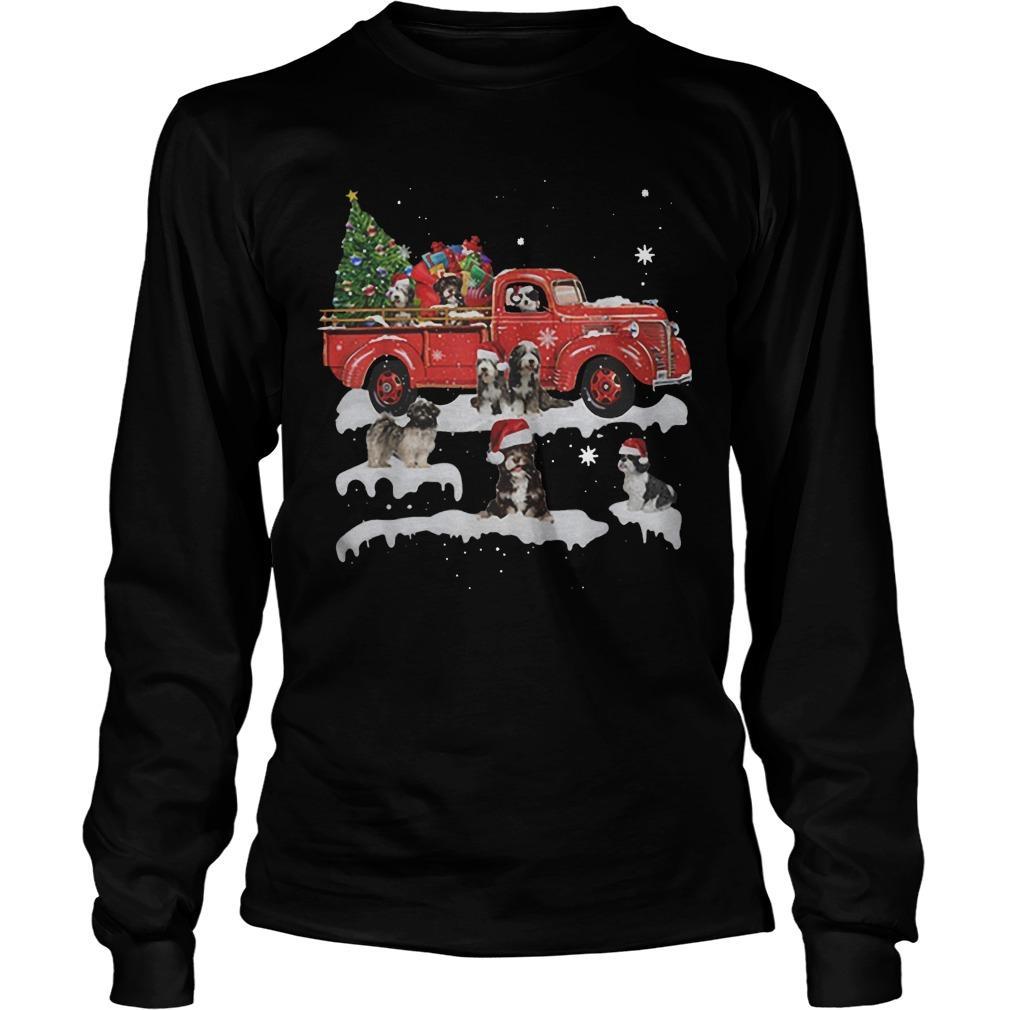 Tibetan Terrier Riding Red Truck Merry Christmas Longsleeve