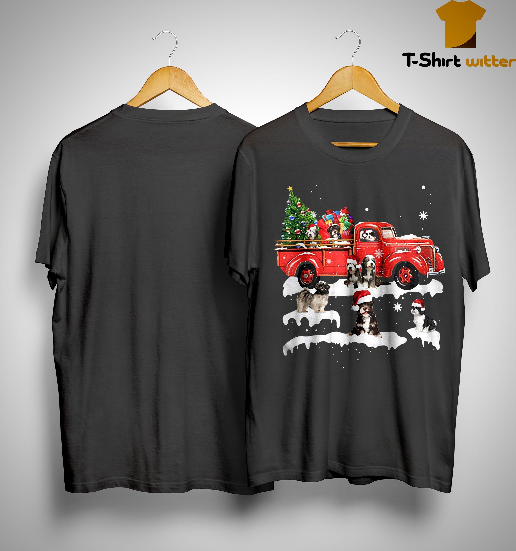 Tibetan Terrier Riding Red Truck Merry Christmas Shirt
