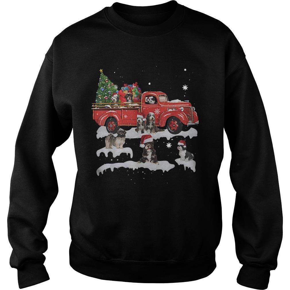 Tibetan Terrier Riding Red Truck Merry Christmas Sweater