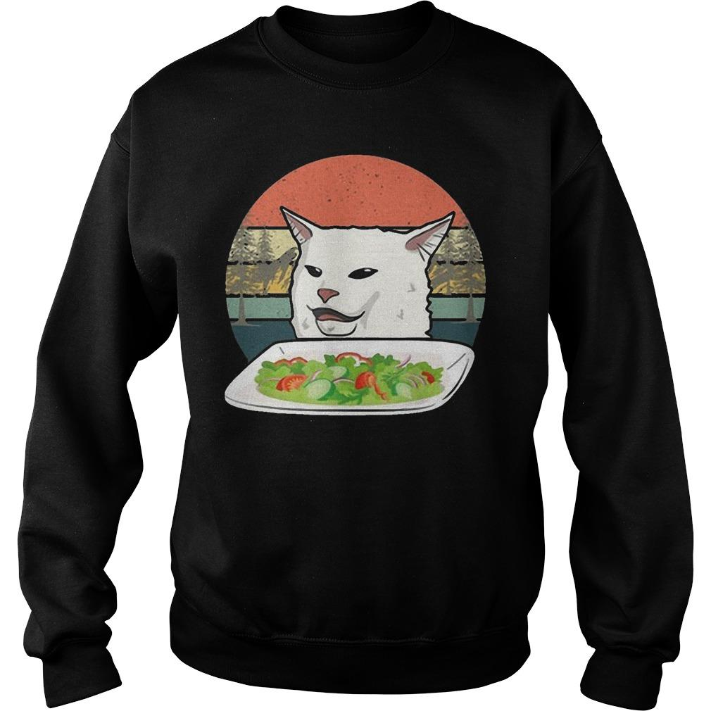 Vintage Retro Woman Yelling At Table Dinner Cat Meme Sweater