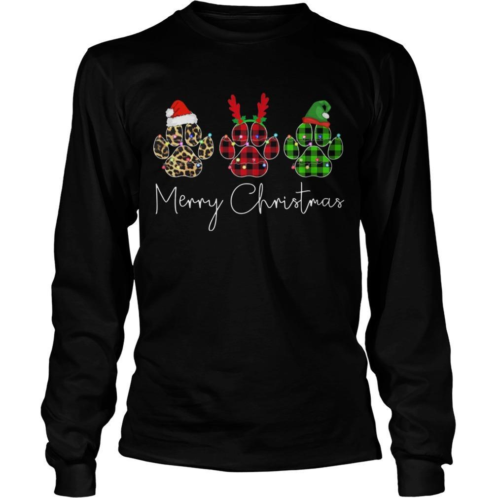 Merry Christmas Dog Paw Longsleeve