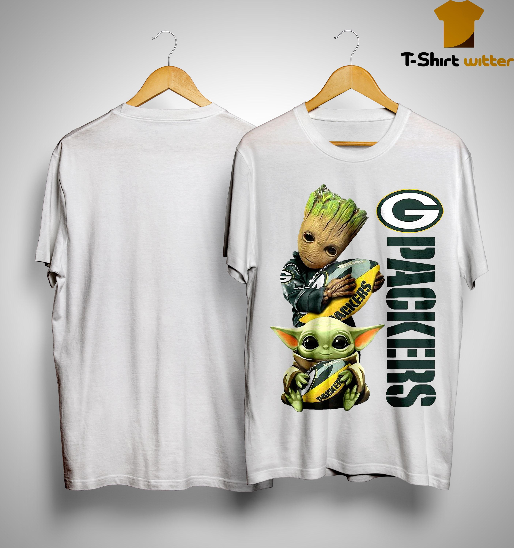 Baby Yoda And Groot Green Bay Packers Shirt