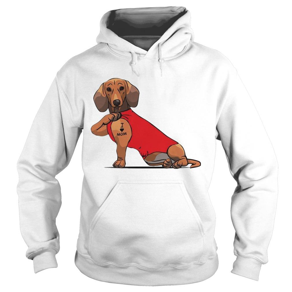 Dachshund I Love Mom Tattoo Hoodie