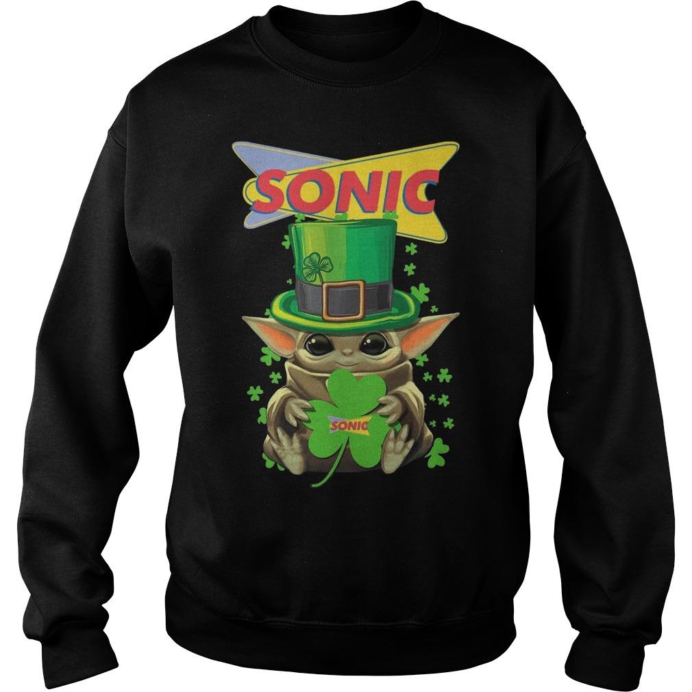 Shamrock St Patricks Day Baby Yoda Sonic Sweater