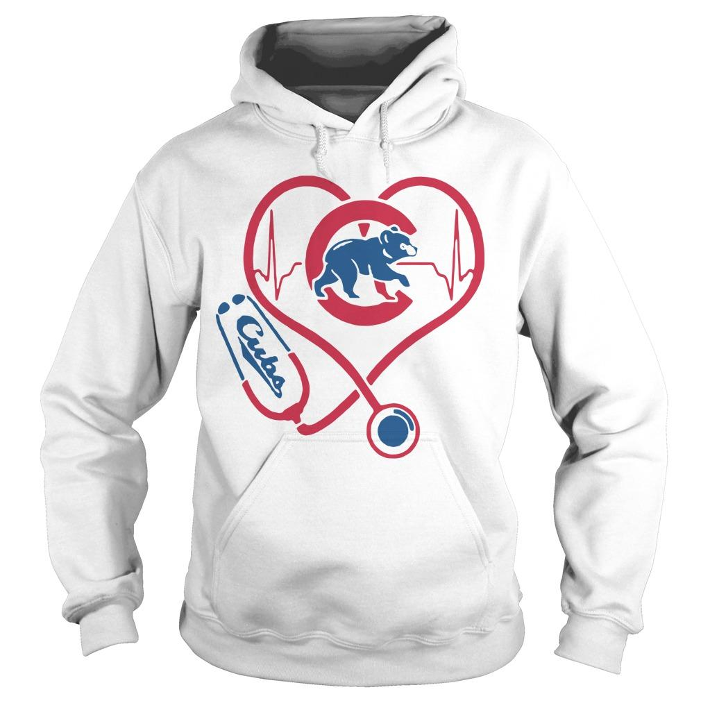 Baseball Stethoscope Heartbeat Chicago Cubs Hoodie