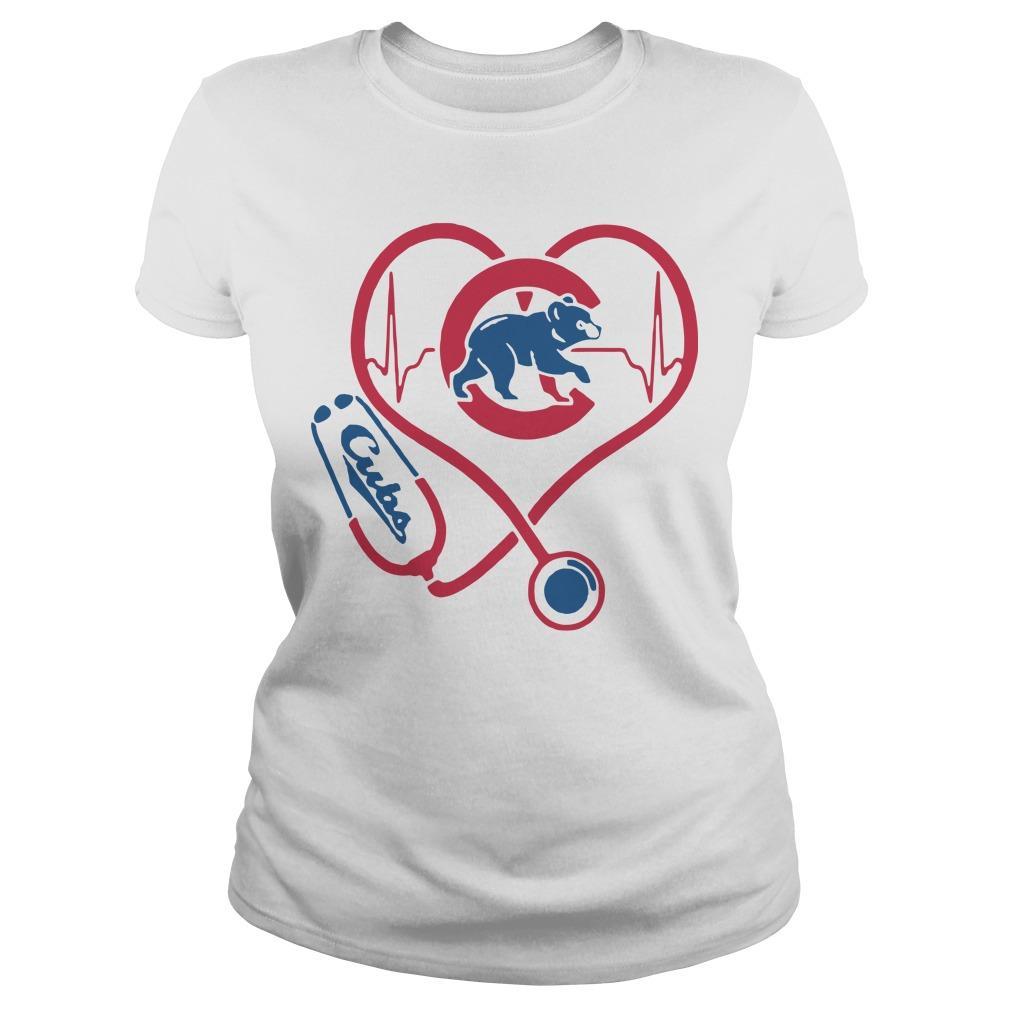 Baseball Stethoscope Heartbeat Chicago Cubs Longsleeve