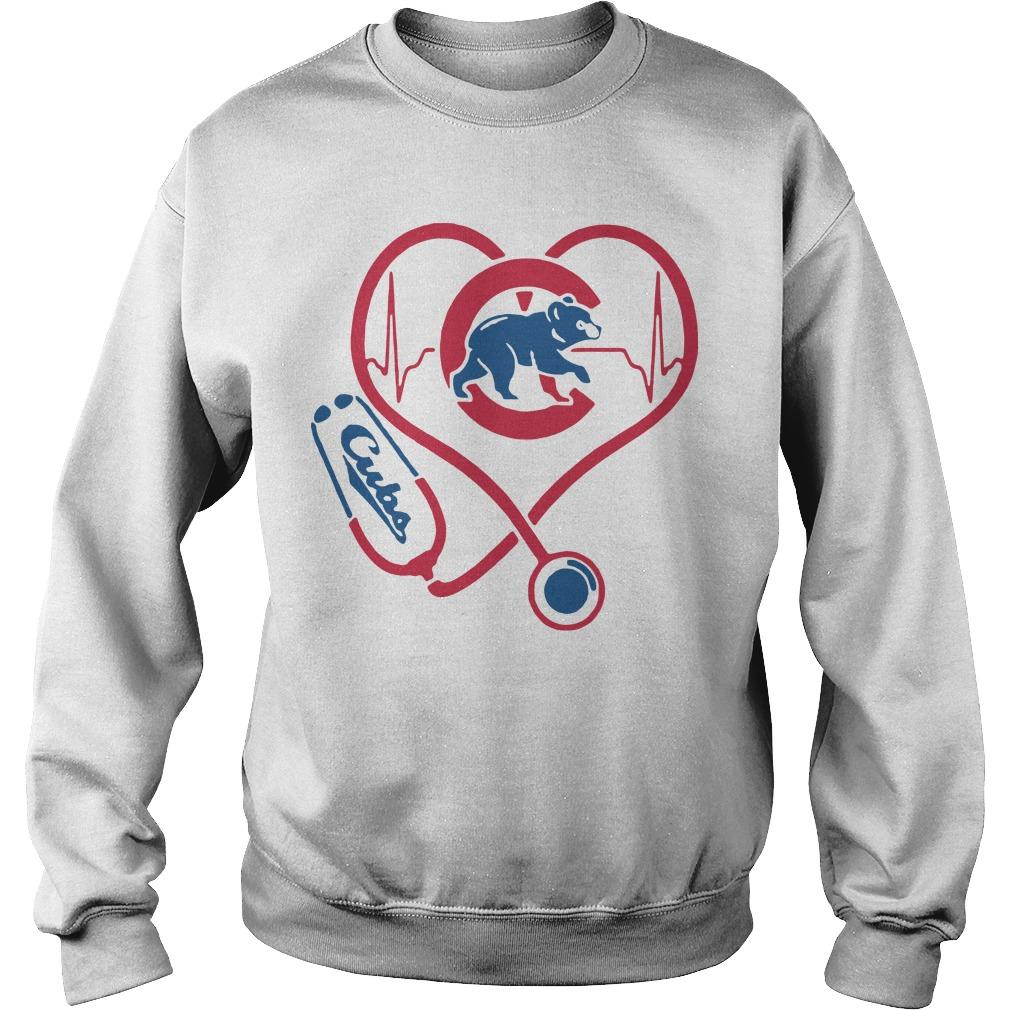 Baseball Stethoscope Heartbeat Chicago Cubs Sweater