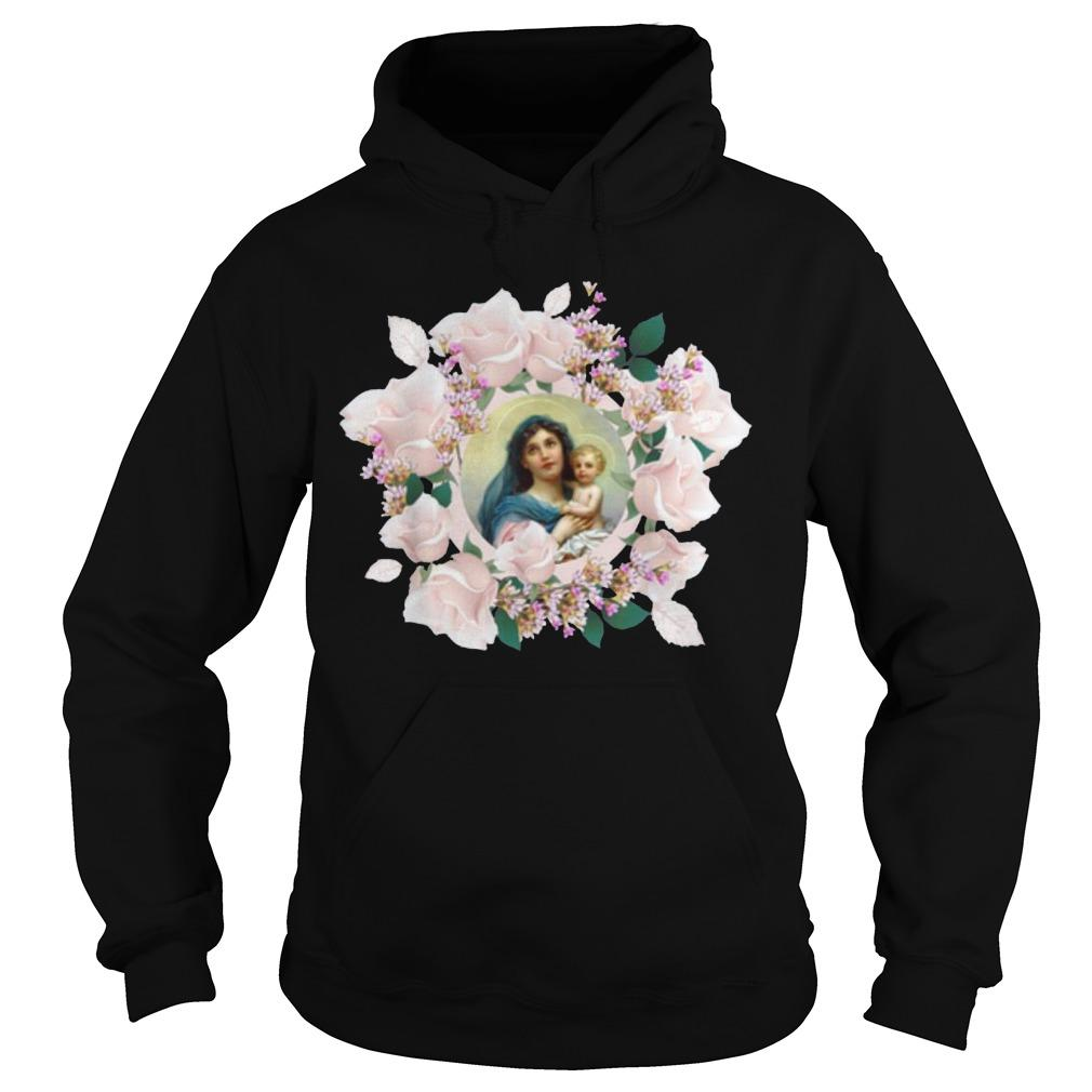 Blessed Mother Mary And Jesus Flowers Hoodie