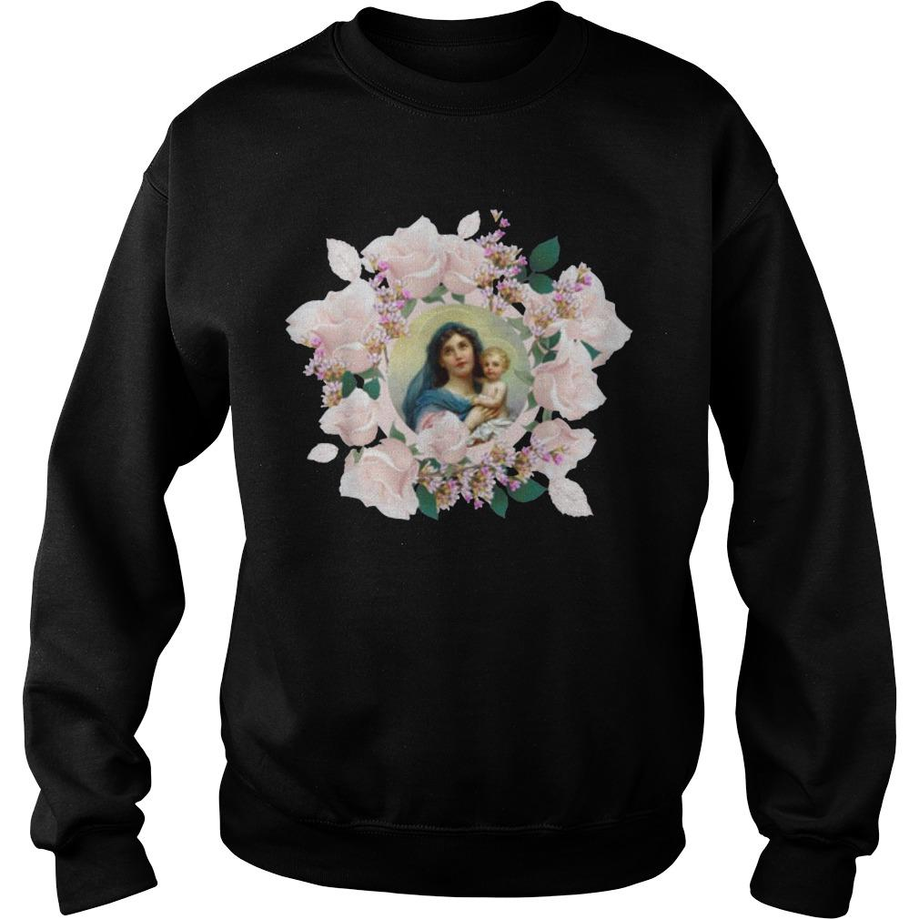 Blessed Mother Mary And Jesus Flowers Sweater