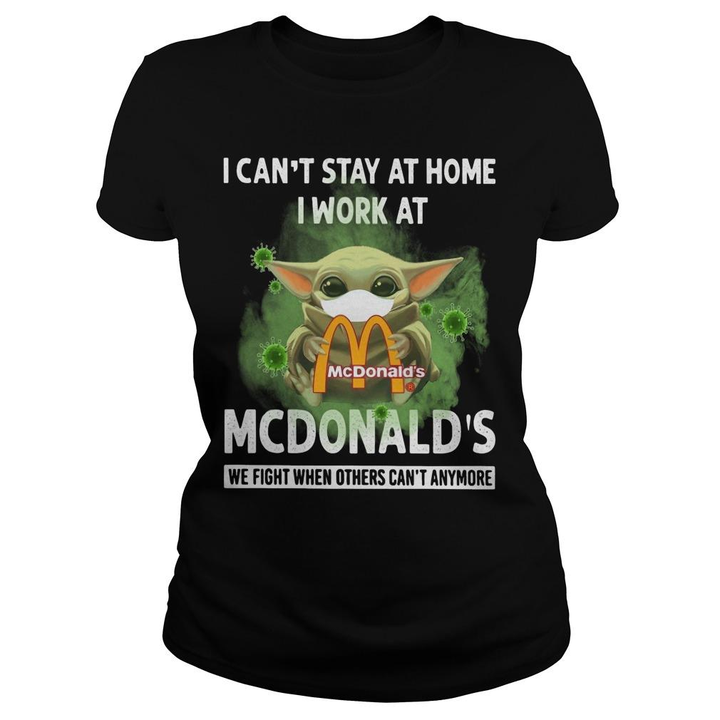 Mask Baby Yoda I Can't Stay At Home I Work At Mcdonald's Longsleeve