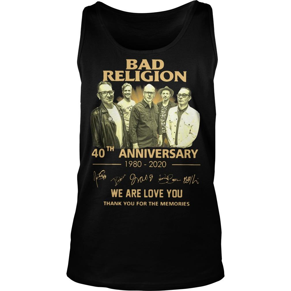 Bad Religion 40th Anniversary We Are Love You Thank You For The Memories Tank Top