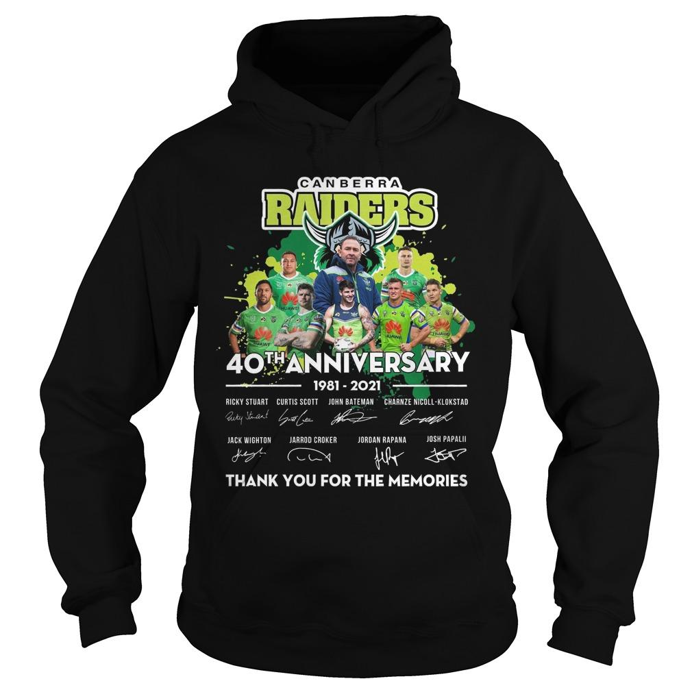 Canberra Raiders 40th Anniversary Thank You For The Memories Hoodie