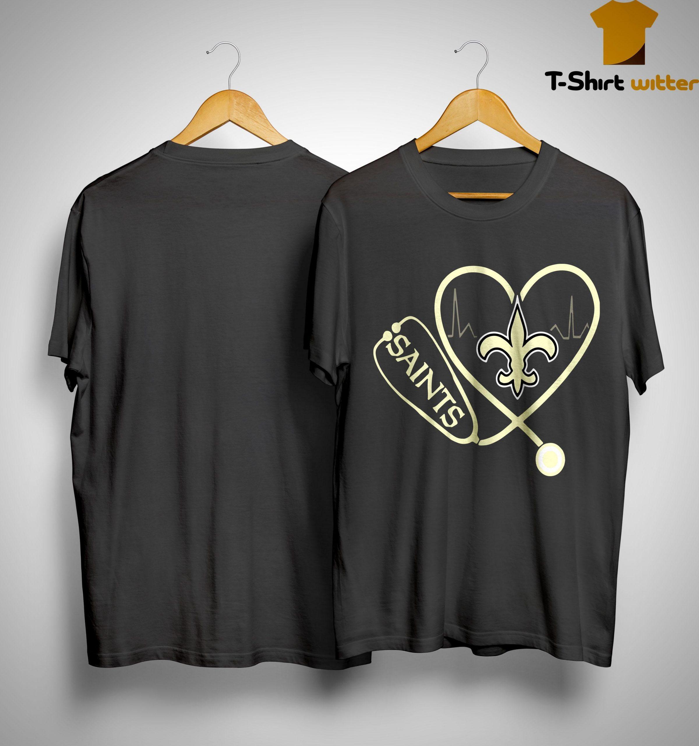 Heartbeat Love Nurse New Orleans Saints Shirt