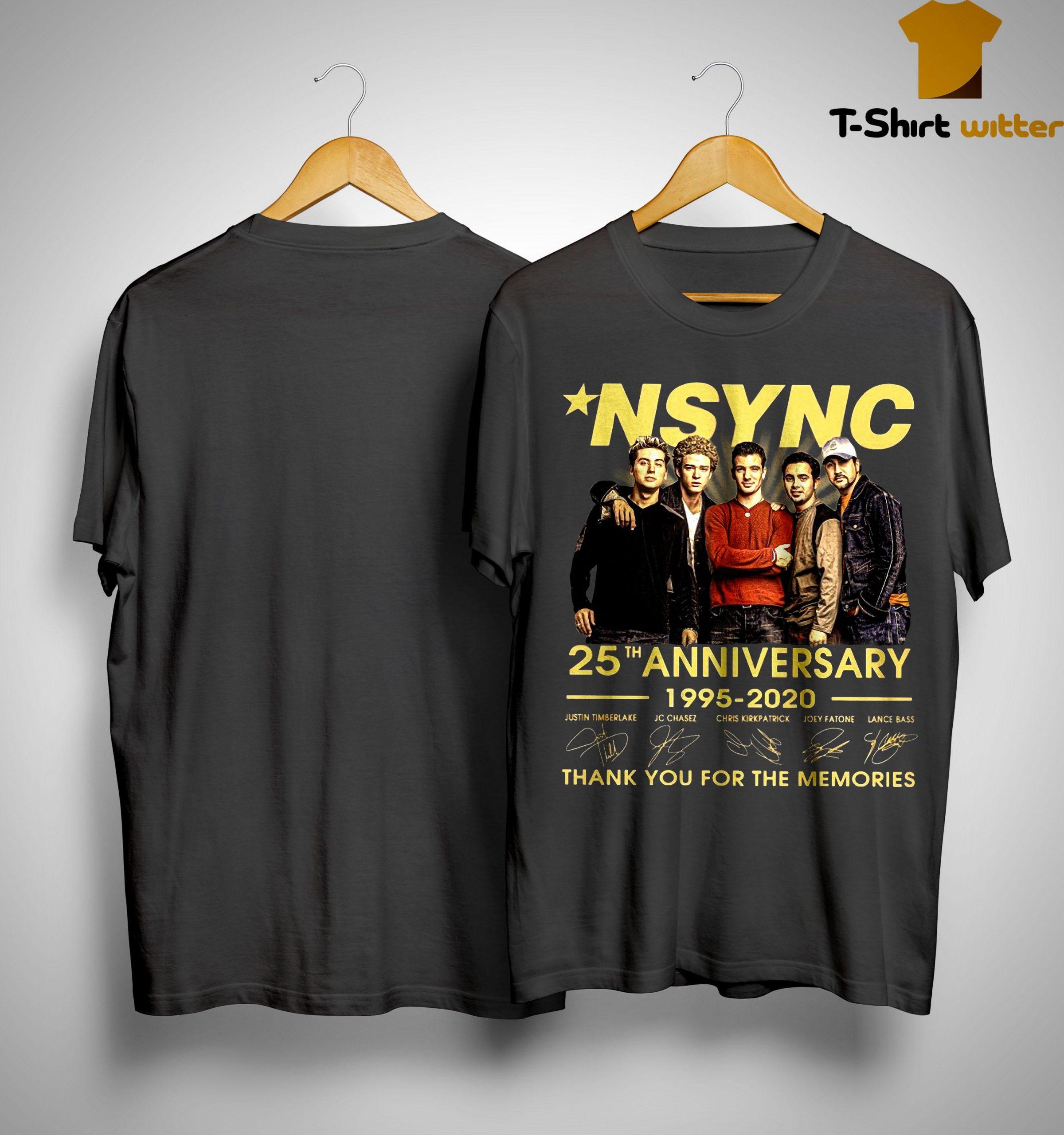Nsync 25th Anniversary 1995 2020 Thank You For The Memories Shirt
