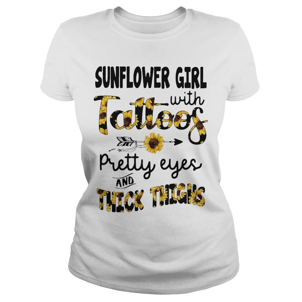 Sunflower Girl With Tattoos Pretty Eyes And Thick Thighs Longsleeve