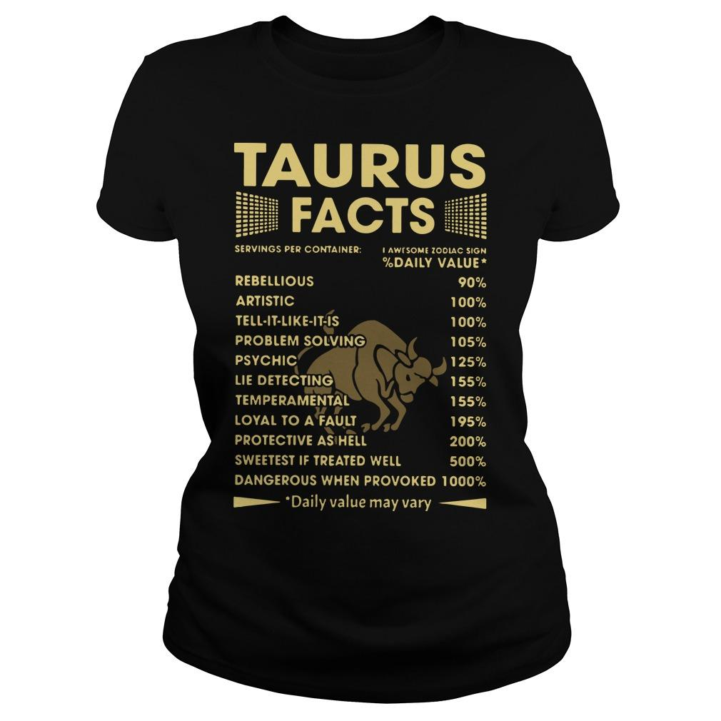 Taurus Facts Servings Per Containers I Awesome Zodiac Sign Longsleeve
