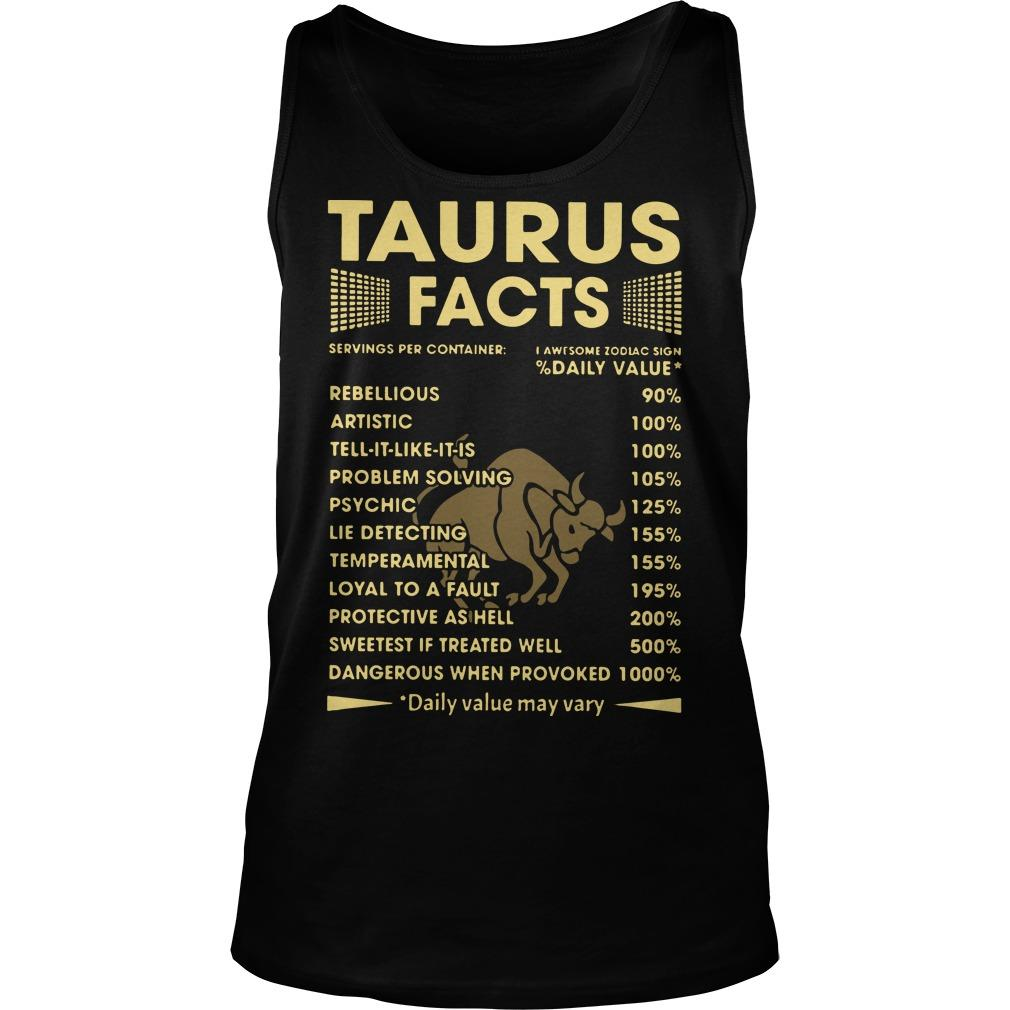 Taurus Facts Servings Per Containers I Awesome Zodiac Sign Tank Top