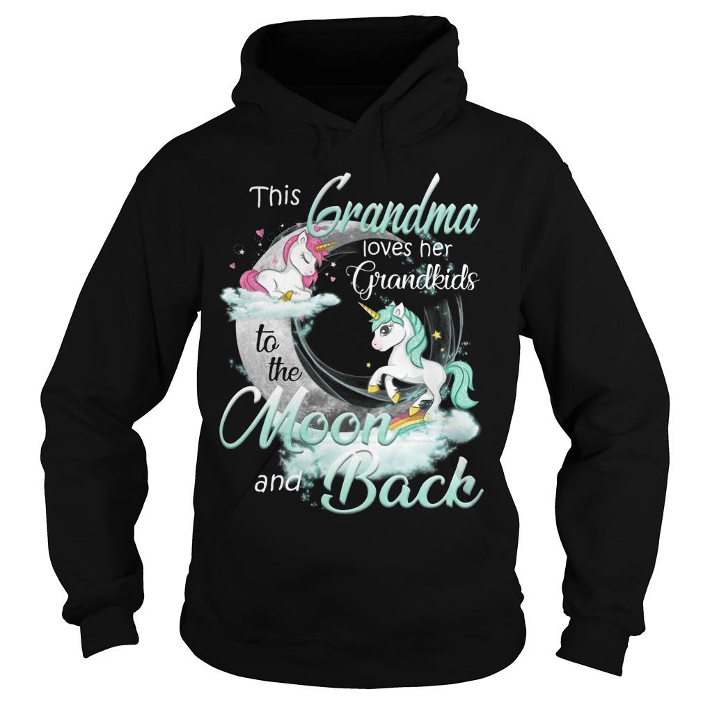 Unicorn This Grandma Loves Her Grandkids To The Moon And Back Hoodie