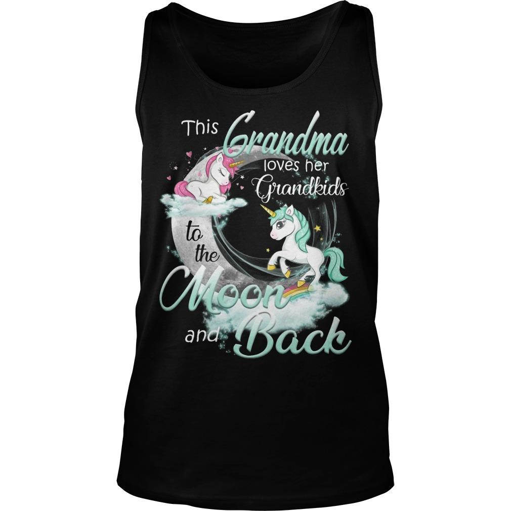 Unicorn This Grandma Loves Her Grandkids To The Moon And Back Tank Top