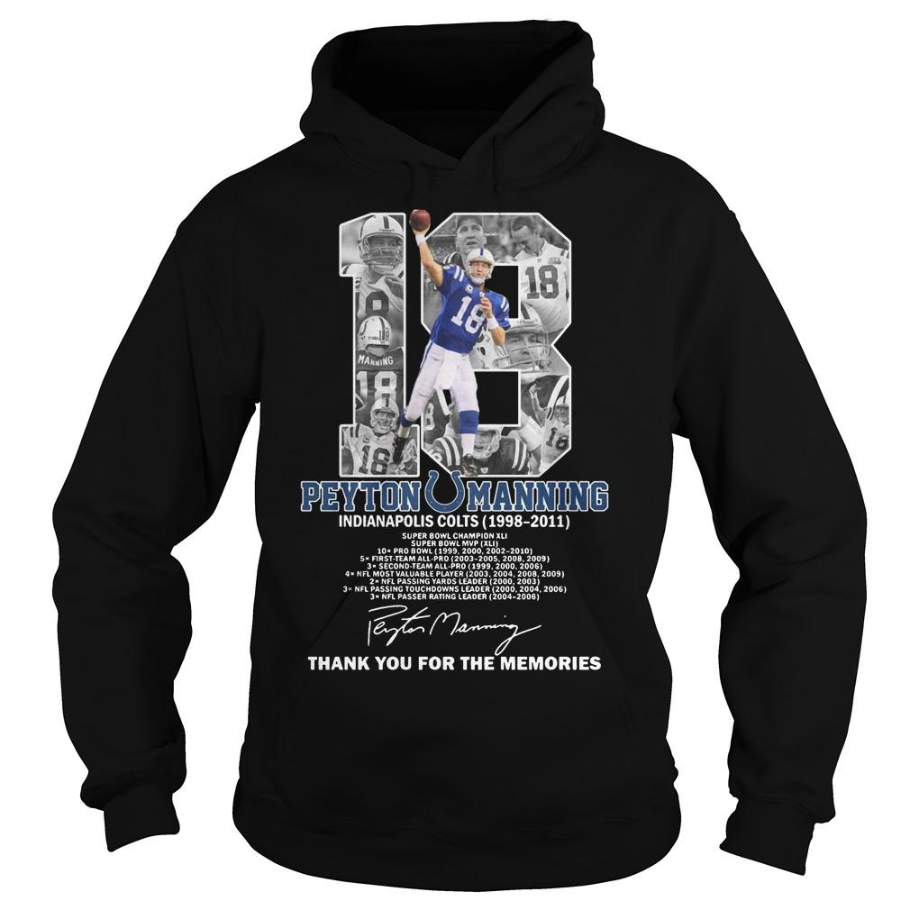 18 Peyton Manning Indianapolis Colts Thank You For The Memories Hoodie