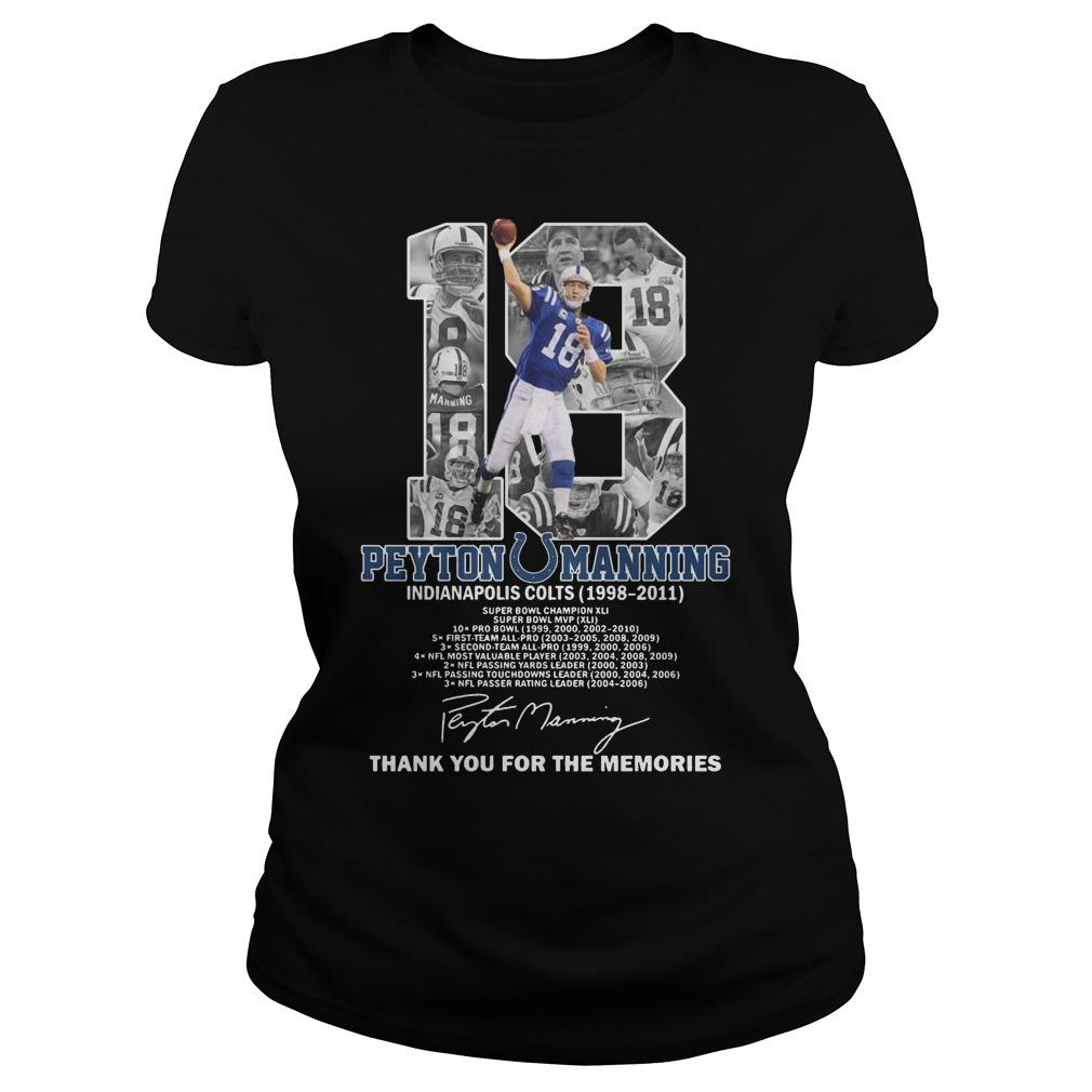 18 Peyton Manning Indianapolis Colts Thank You For The Memories Longsleeve