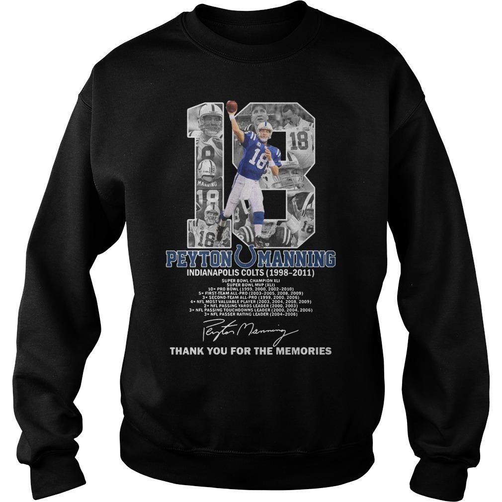 18 Peyton Manning Indianapolis Colts Thank You For The Memories Sweater