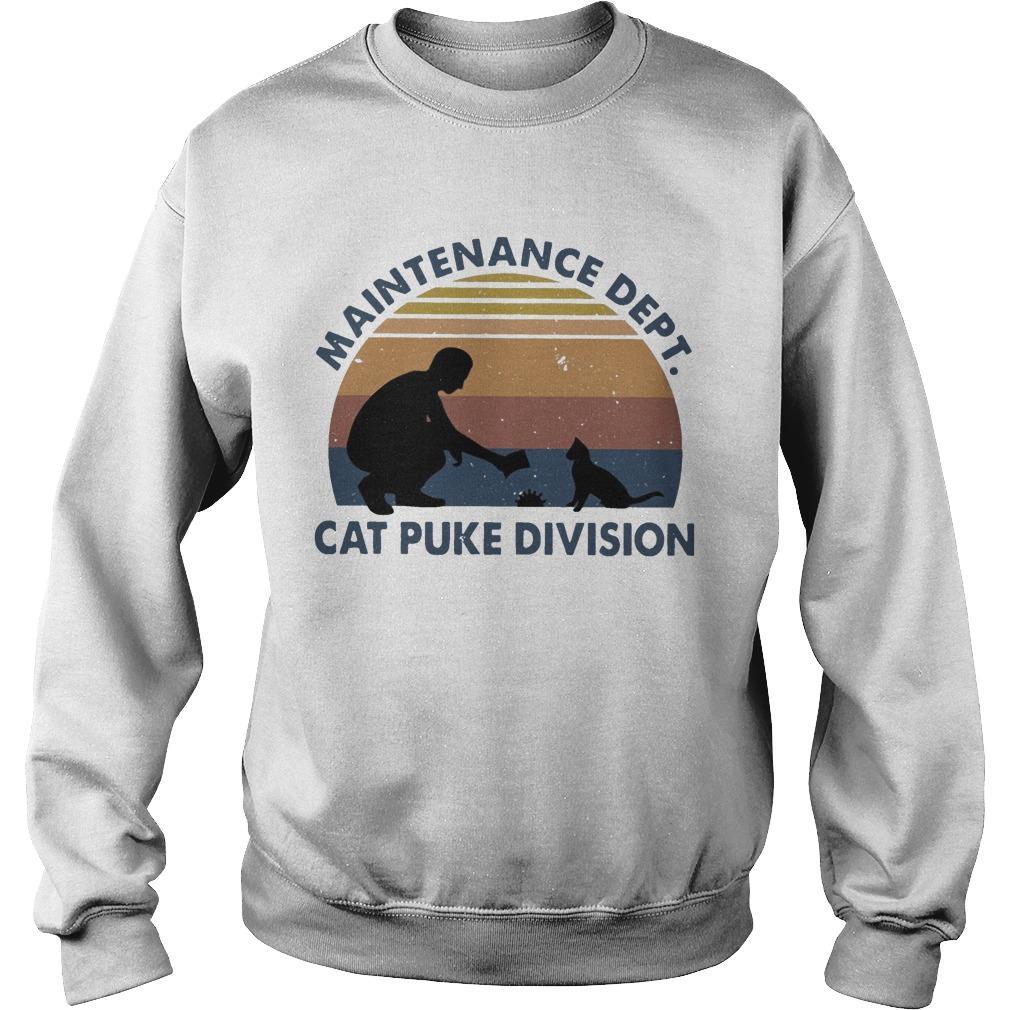 Vintage Maintenance Dept Cat Puke Division Sweater
