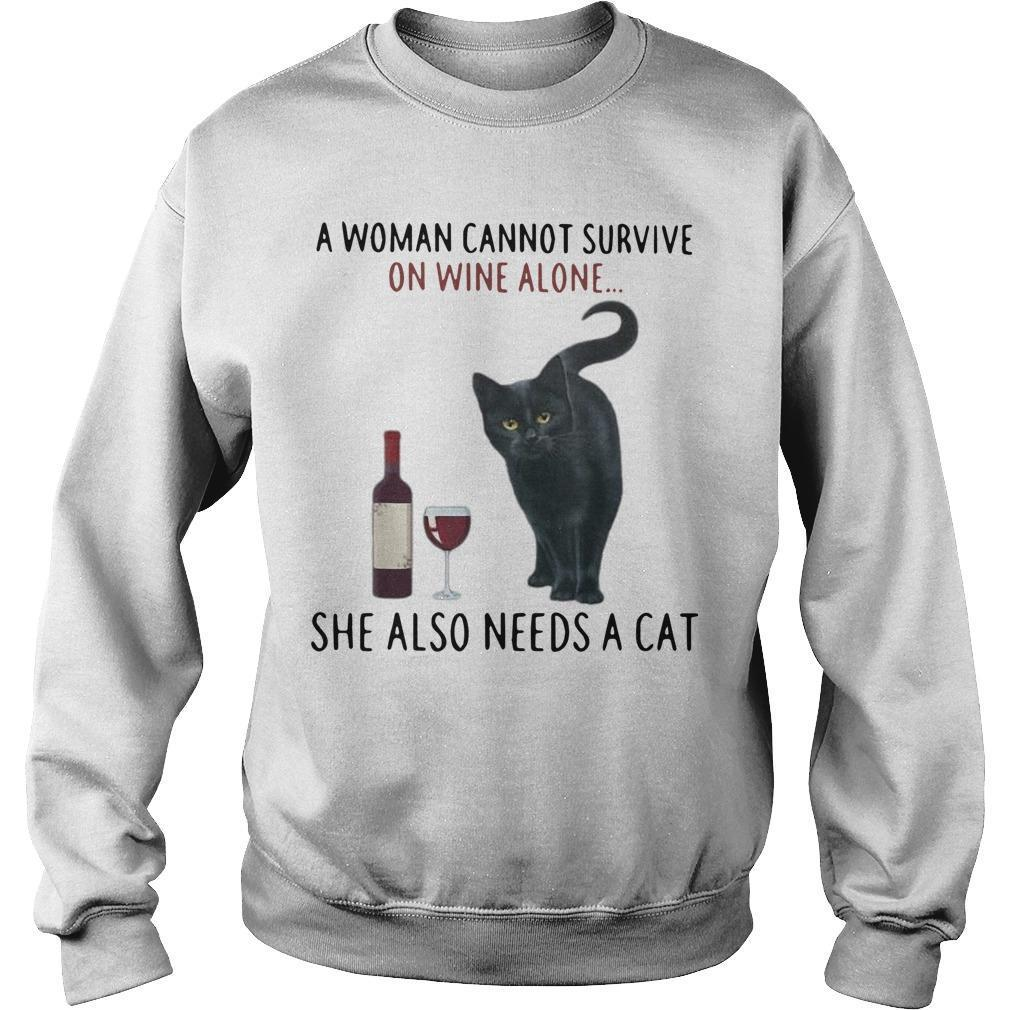 A Woman Cannot Survive On Wine Alone She Also Needs A Cat Sweater