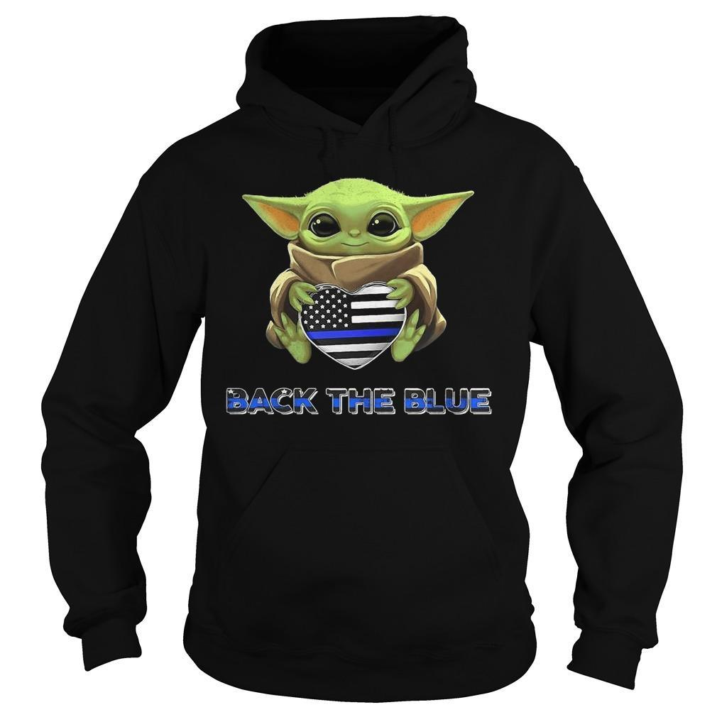 Baby Yoda Hugging Back The Blue Hoodie