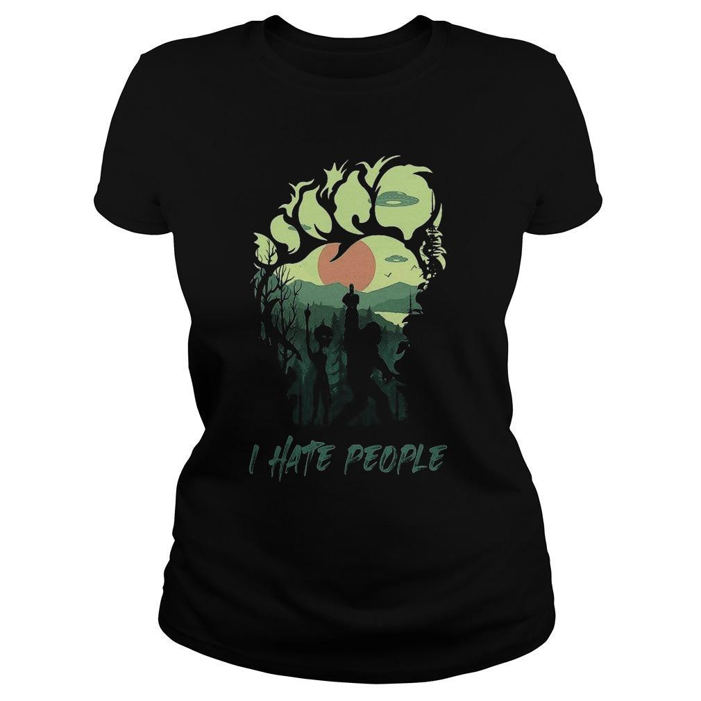 Bigfoot And Alien Middle Finger I Hate People Longsleeve