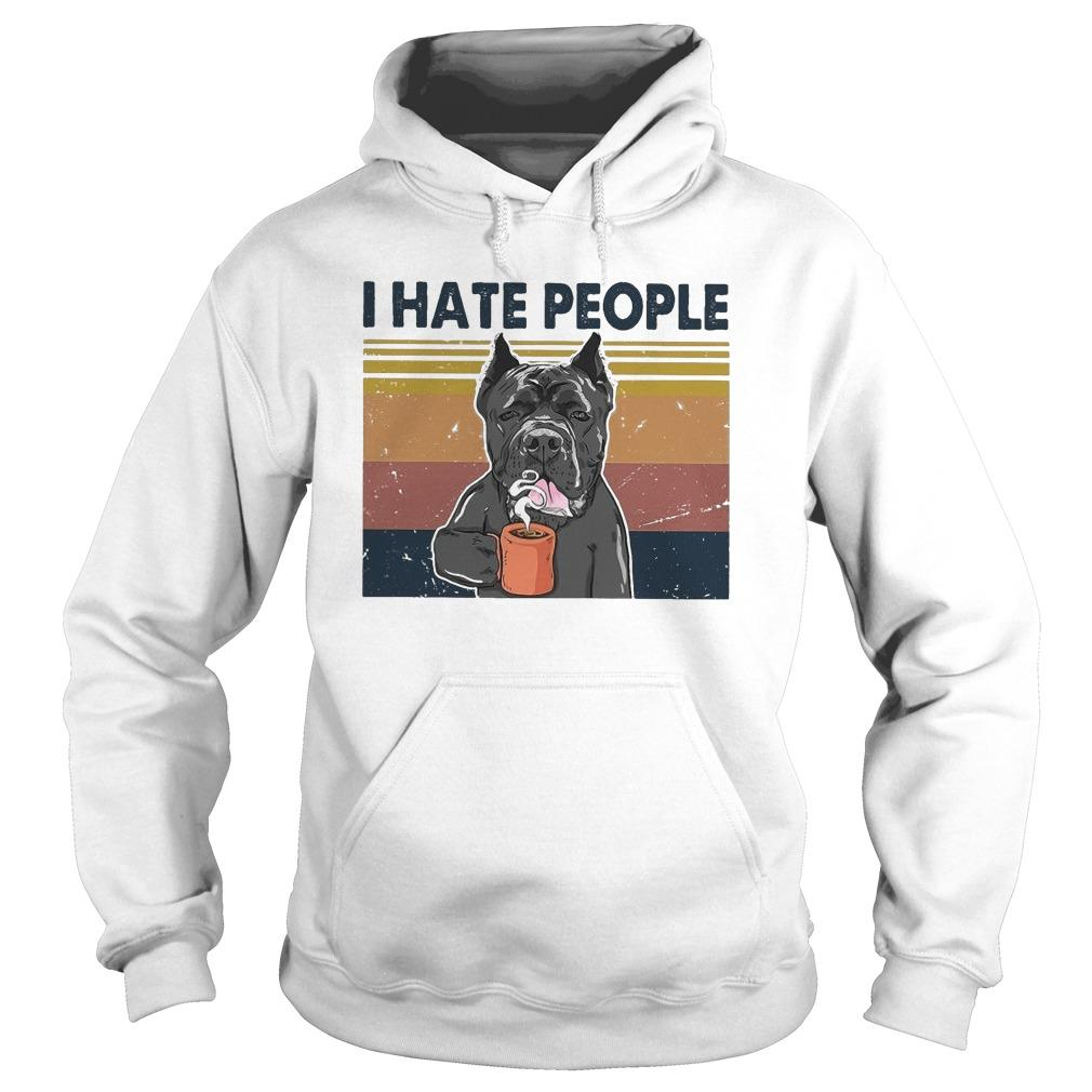 Vintage Bull Dog I Hate People Hoodie
