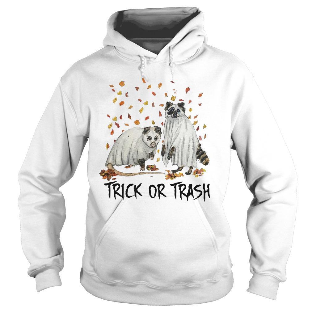 Halloween Racoon Ghost Trick Or Trash Hoodie