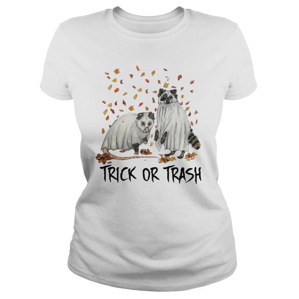 Halloween Racoon Ghost Trick Or Trash Longsleeve