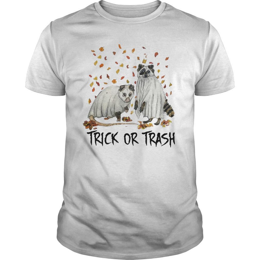 Halloween Racoon Ghost Trick Or Trash Shirt