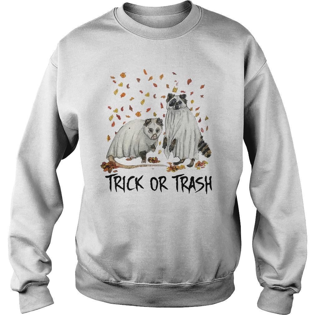 Halloween Racoon Ghost Trick Or Trash Sweater