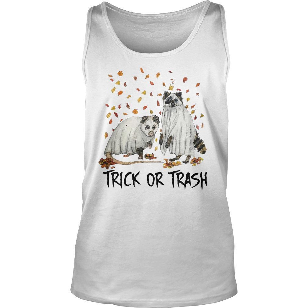Halloween Racoon Ghost Trick Or Trash Tank Top