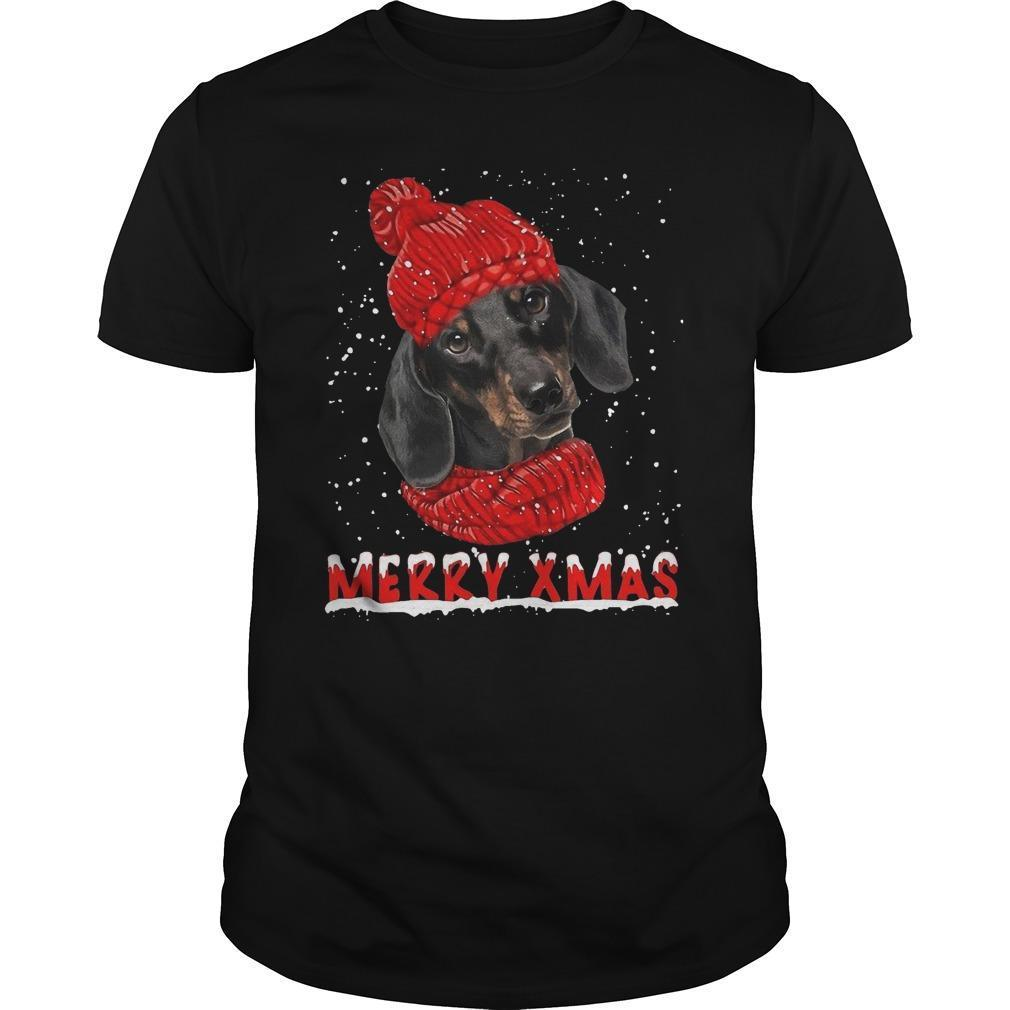 Black Dachshund Merry Xmas Shirt