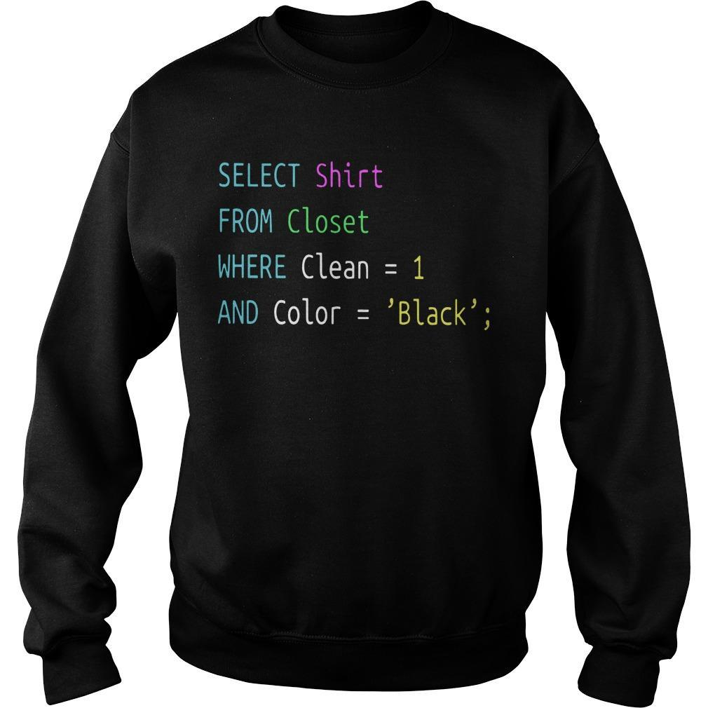 Select From Closet Where Clean 1 And Color Black Sweater