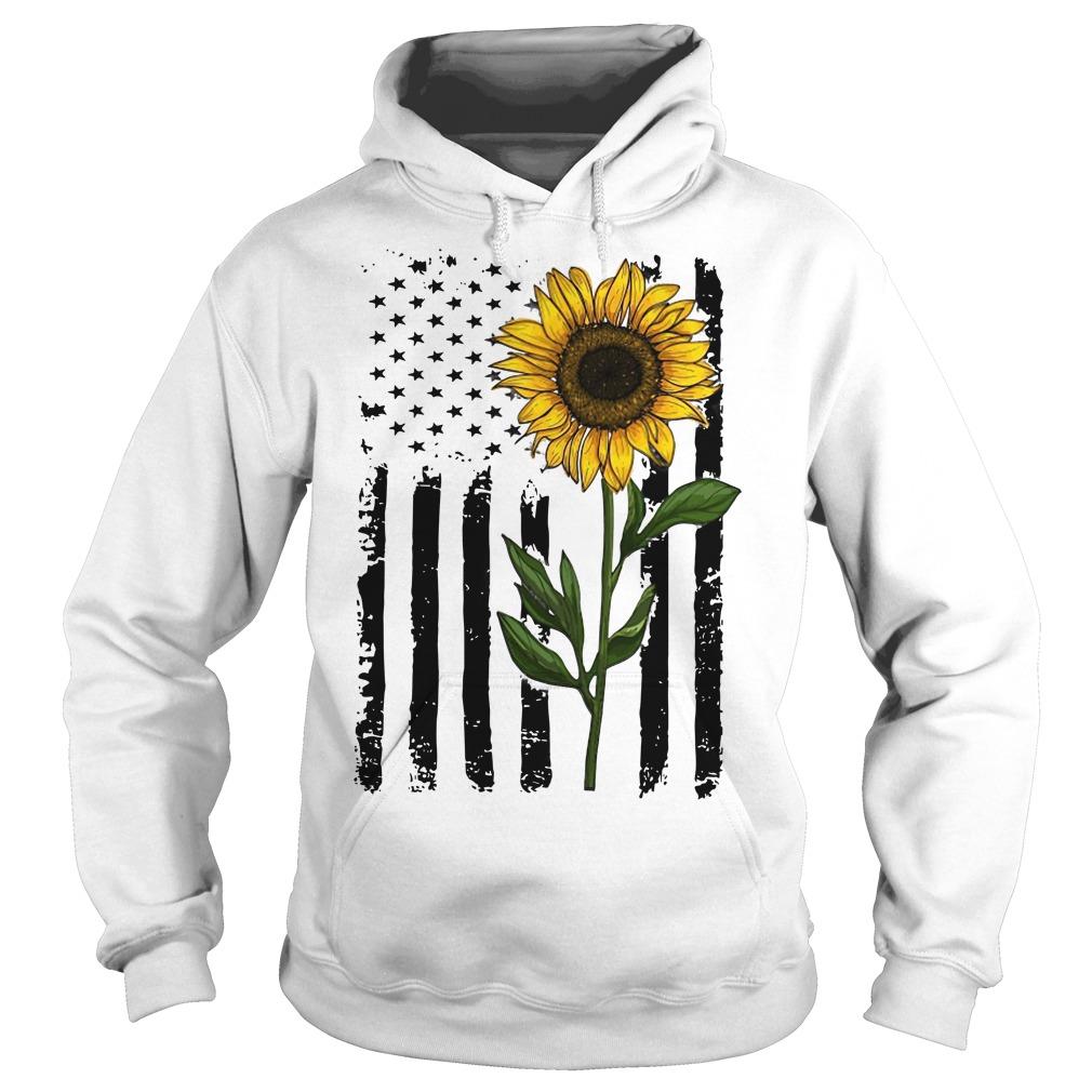 Hippie Vintage American Flag Sunflower Hoodie