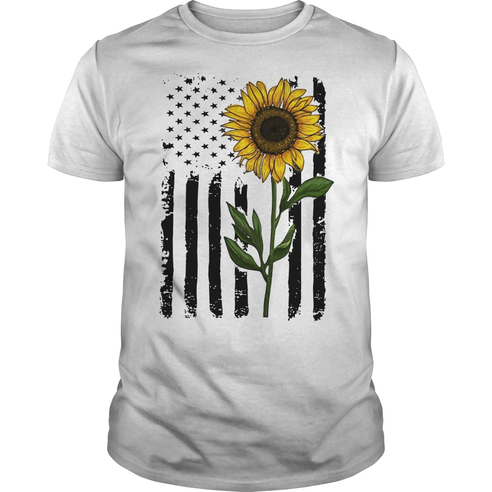 Hippie Vintage American Flag Sunflower