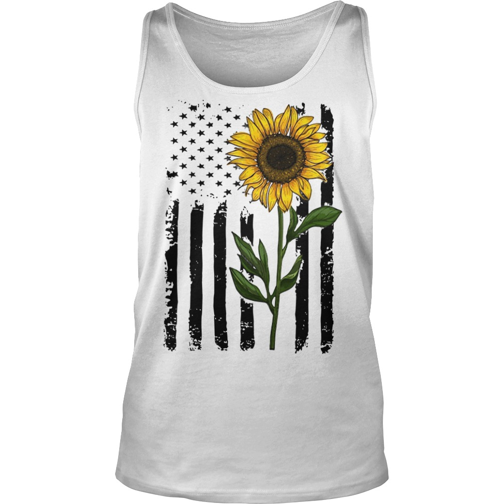 Hippie Vintage American Flag Sunflower Tank Top