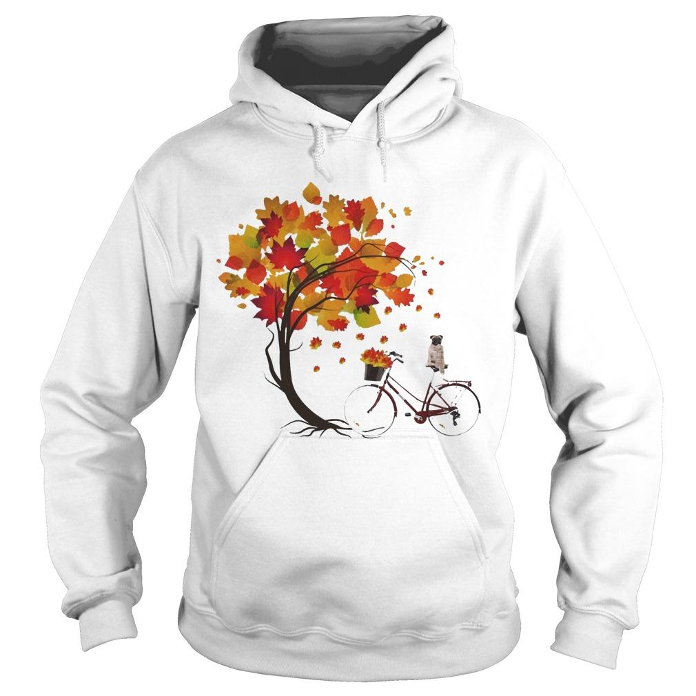 Pug Riding Bicycle Under Autumn Tree Hoodie