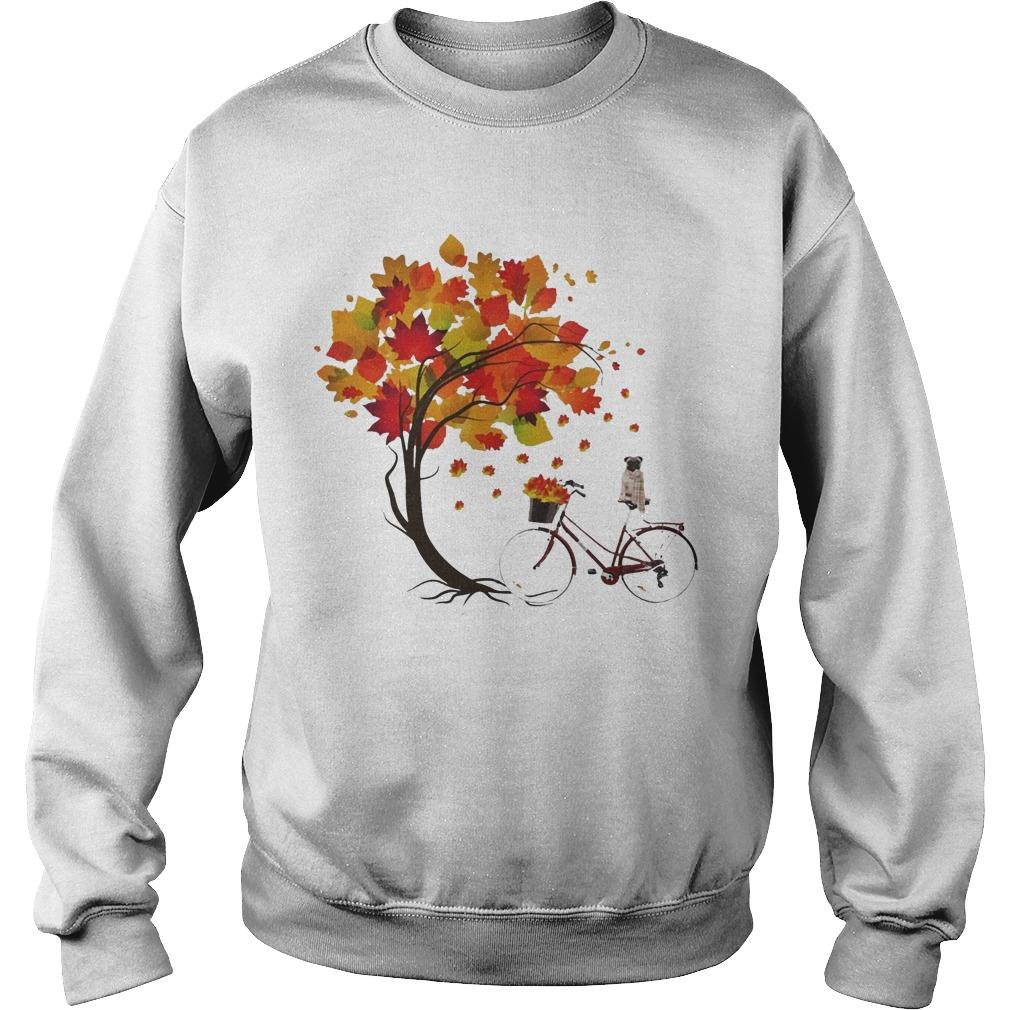 Pug Riding Bicycle Under Autumn Tree Sweater