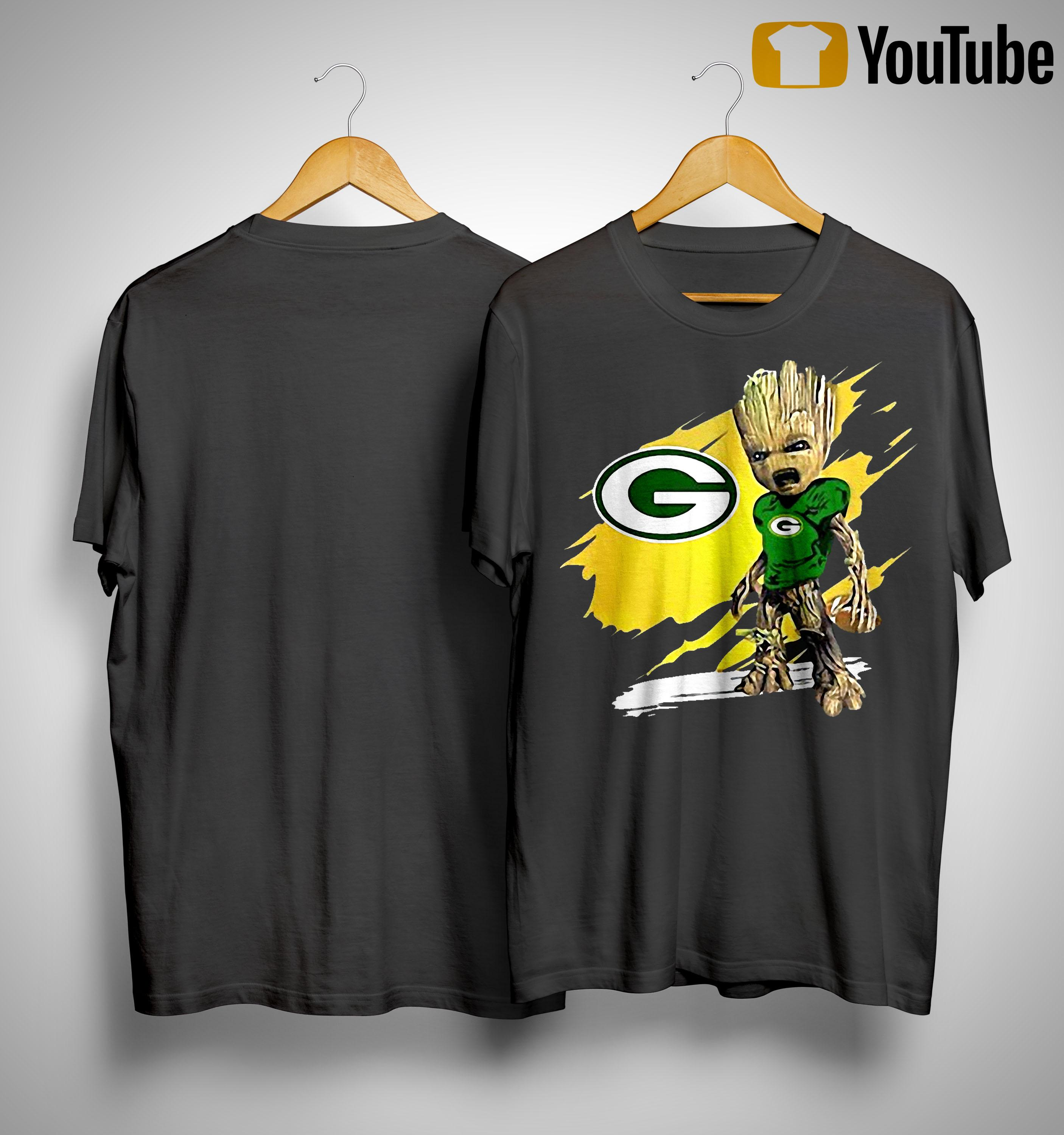Baby Groot Crazy And Green Bay Packer Shirt