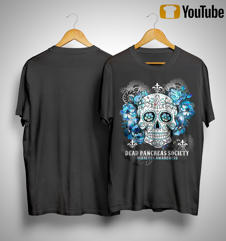 Hippie Skull Dead Pancreas Society Diabetes Awareness Shirt